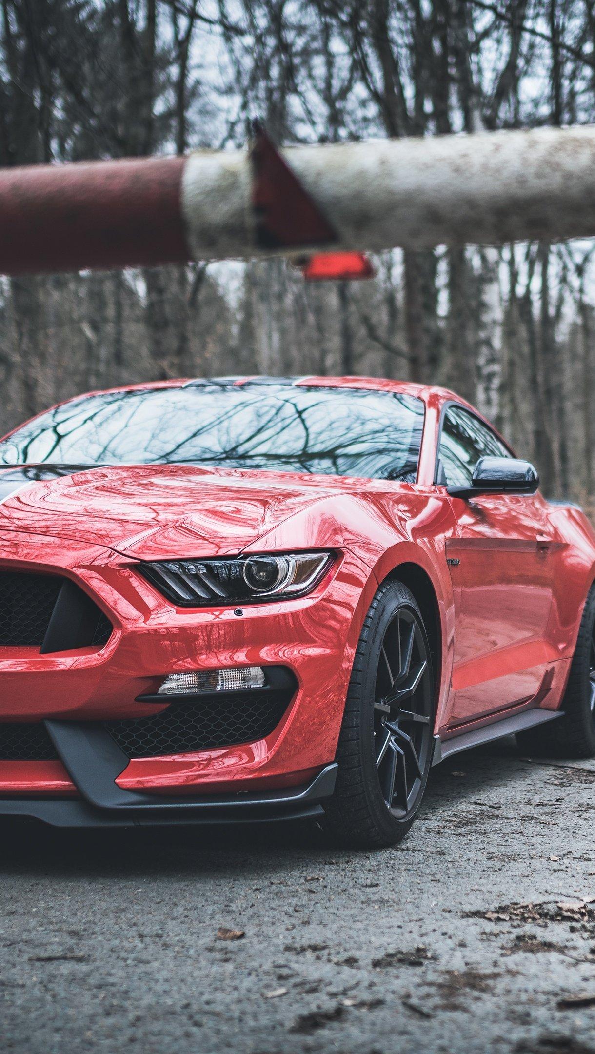 Fondos de pantalla Ford Mustang Shelby GT350 rojo con rayas negras Vertical