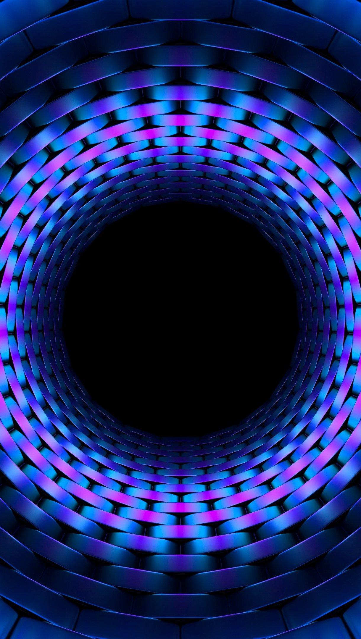 Fondos de pantalla Fractal de círculo en tunel azul 3D Vertical
