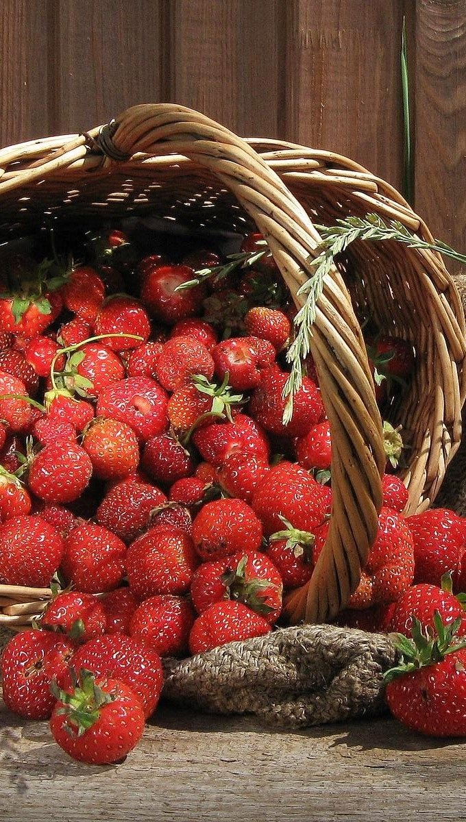 Wallpaper Strawberries in a basket Vertical