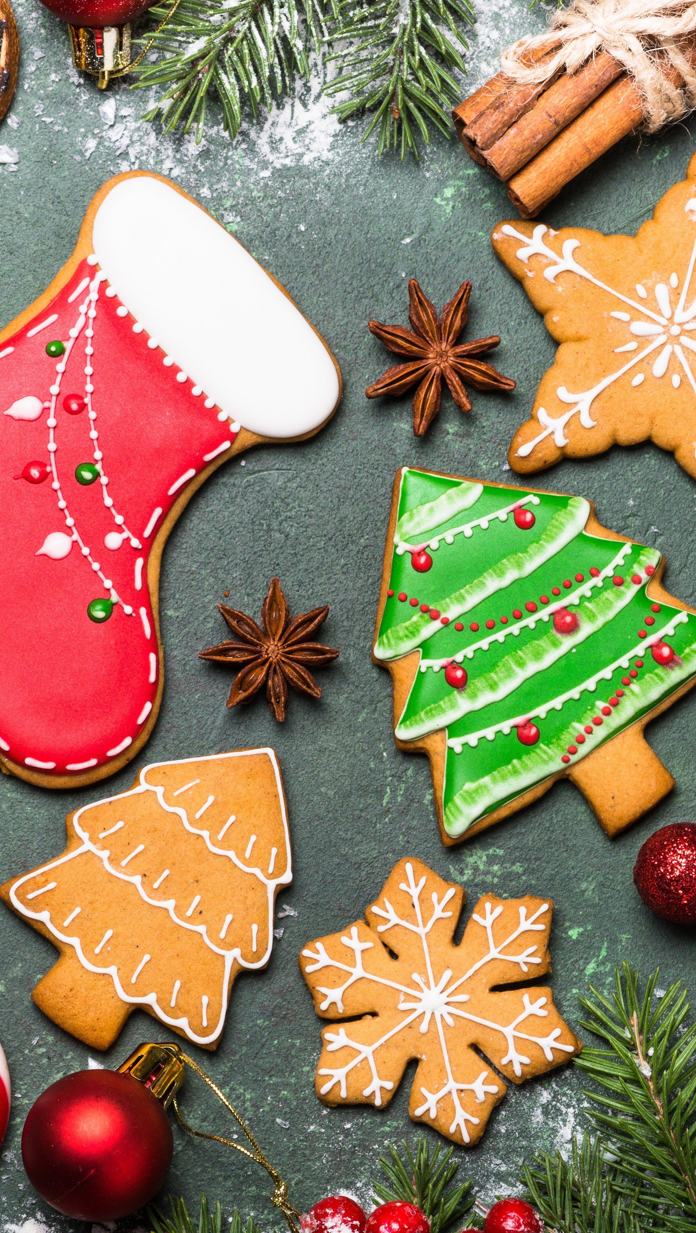 Wallpaper Christmas cookies Vertical