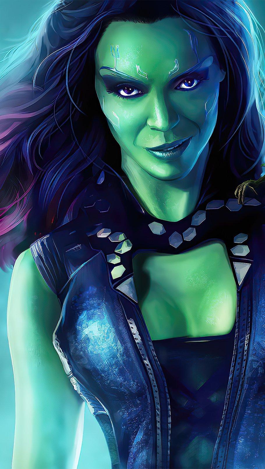 Fondos de pantalla Gamora con Groot bebé de Guardianes de la Galaxia Vertical
