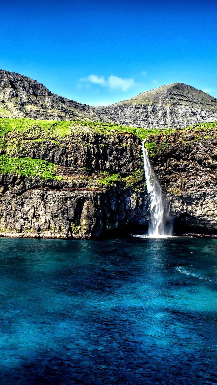 Fondos de pantalla Gásadalur, Islas Feroe Vertical