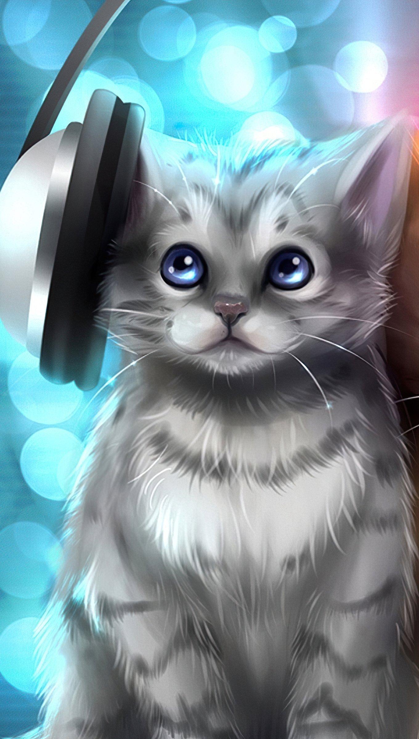 Fondos de pantalla Gatitos escuchando música Vertical