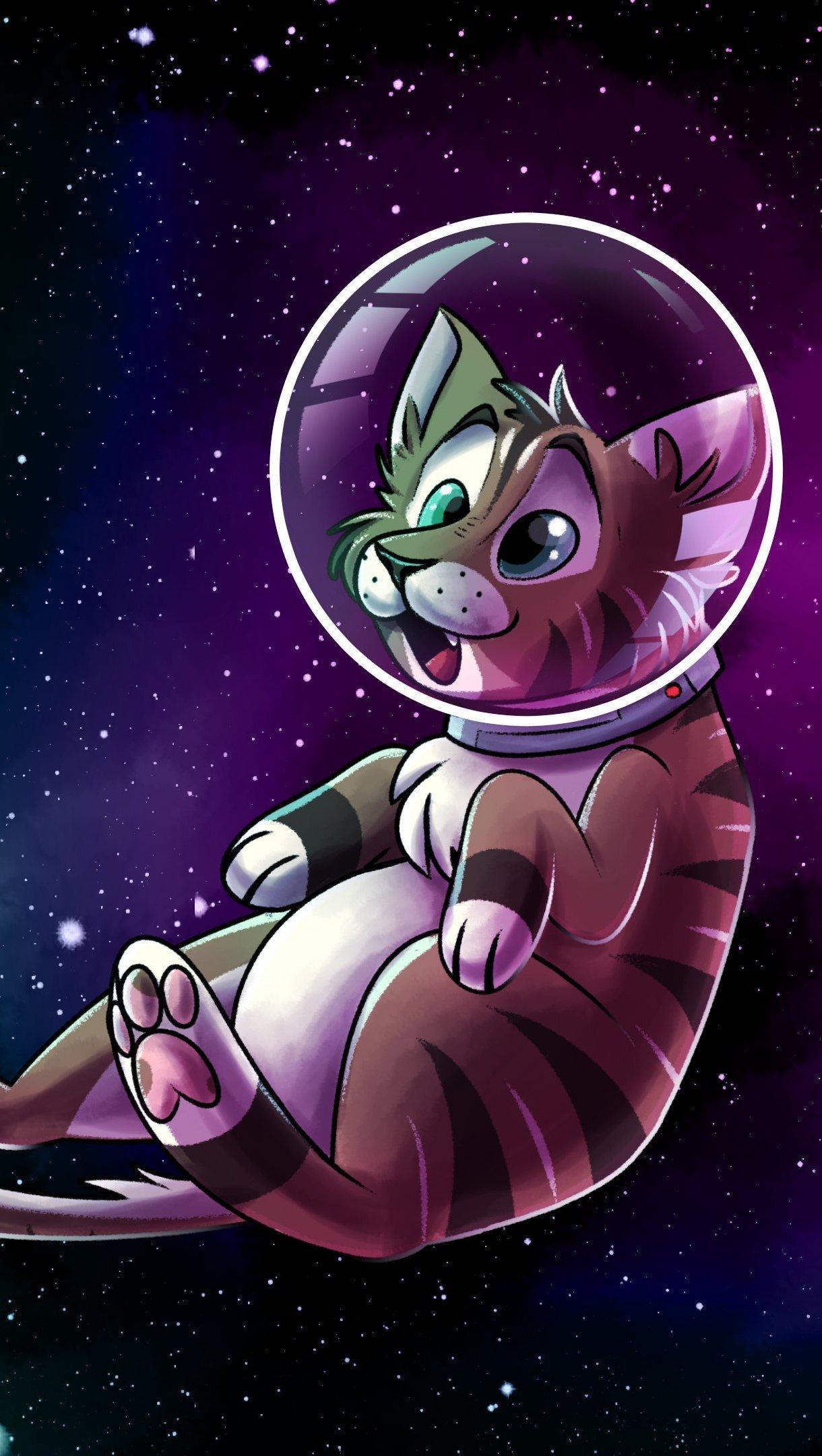 Wallpaper Catstronaut in space Vertical