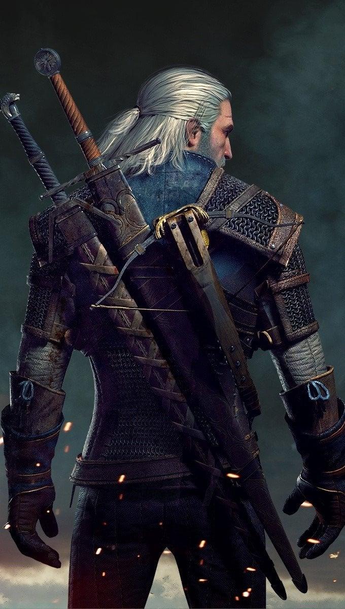 Wallpaper Geralt in The Witcher 3 Vertical