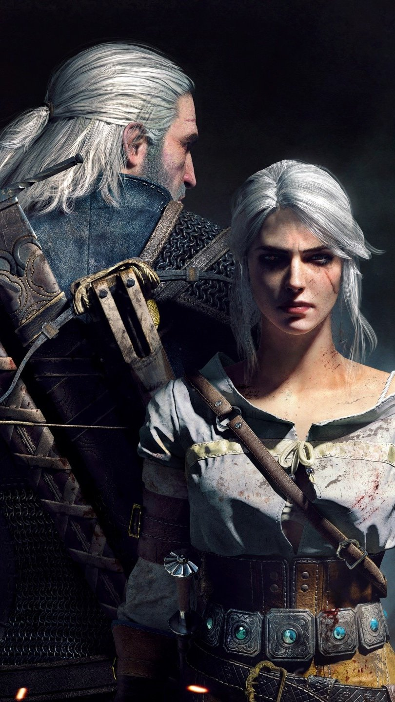 Wallpaper Geralt and Ciri in The Witcher 3 Wild Hunt Vertical