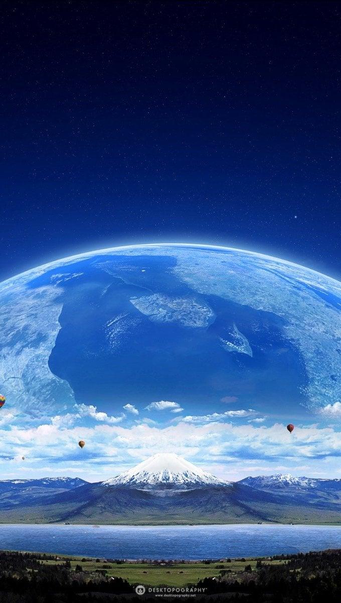 Wallpaper Hot air balloon and a planet Vertical