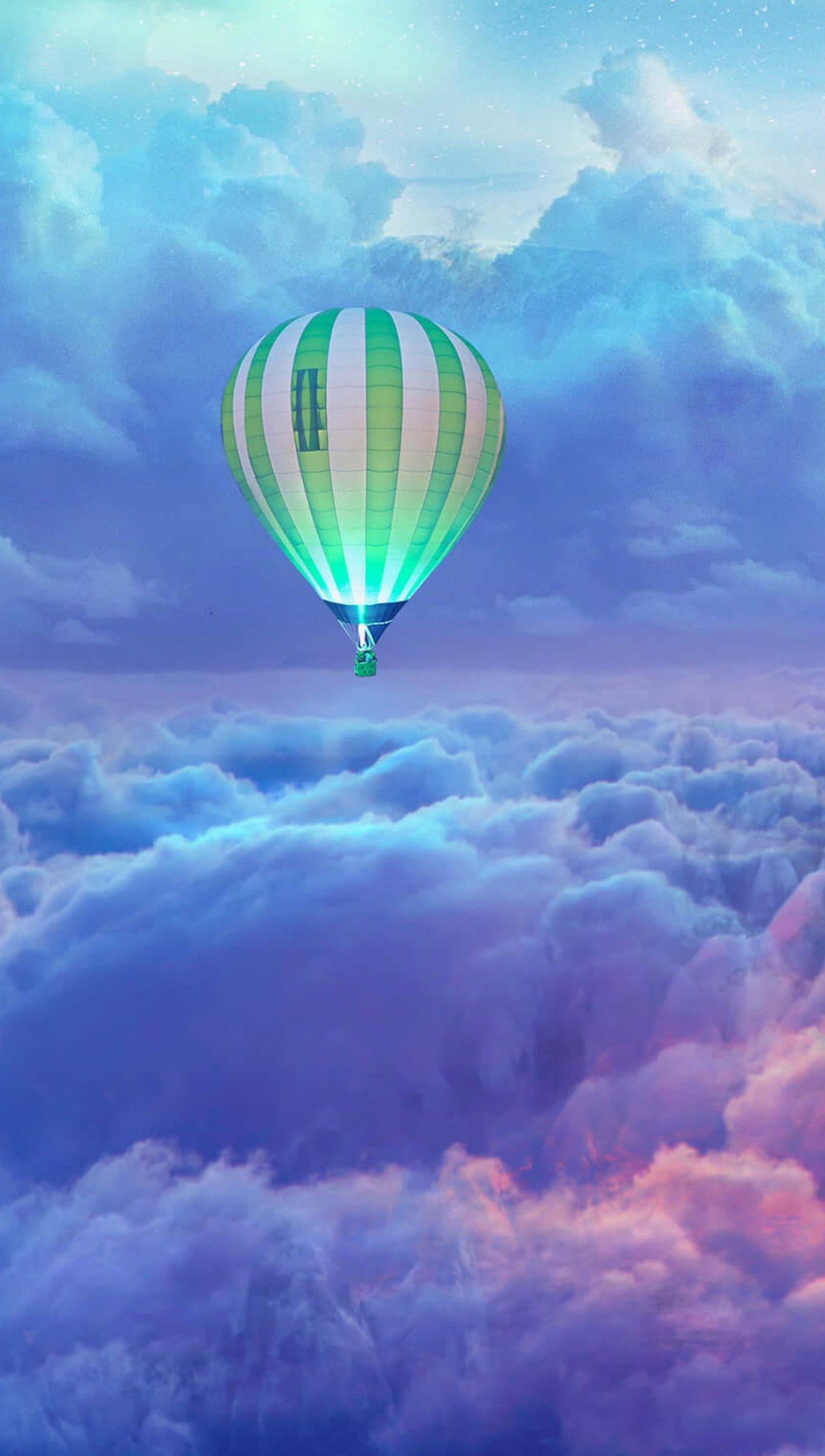Fondos de pantalla Globos aerostáticos sobre las nubes Vertical