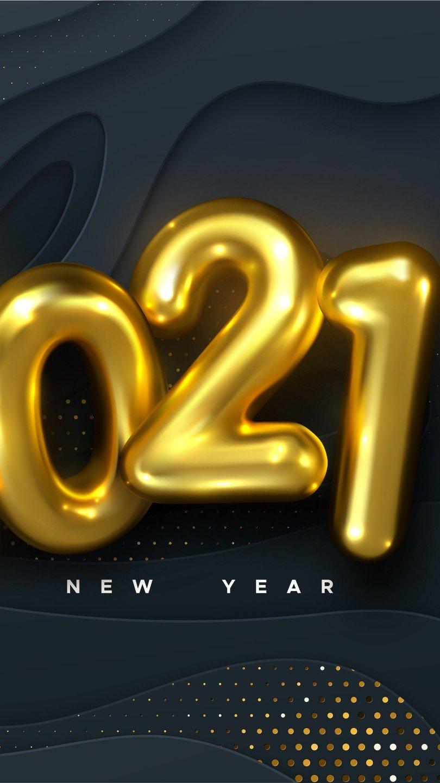 Wallpaper Golden balloons New Year 2021 Vertical