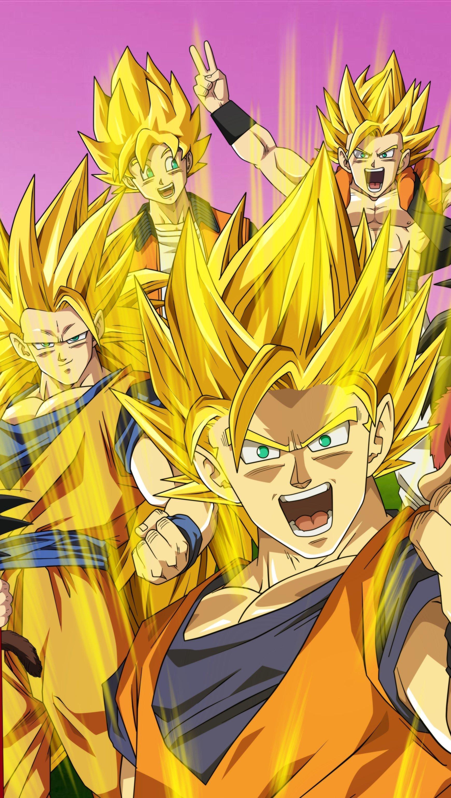 Fondos de pantalla Goku en todas las fases Super saiyajin Vertical