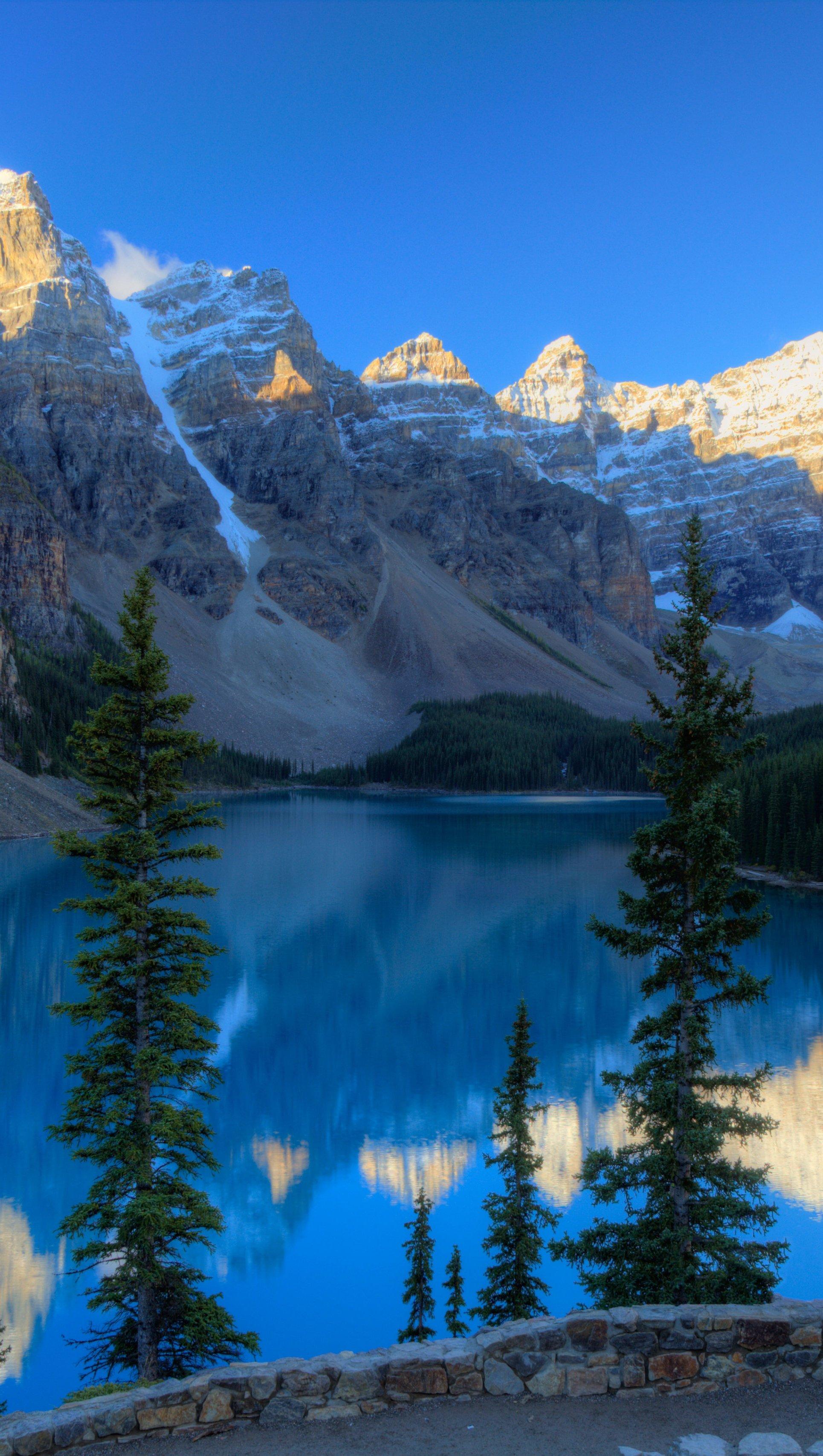 Fondos de pantalla Grandes montañas en el bosque Lago Moraine Vertical