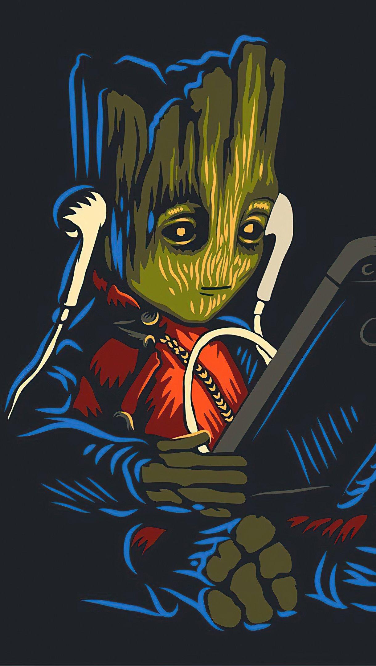 Fondos de pantalla Groot bebé escuchando música Vertical