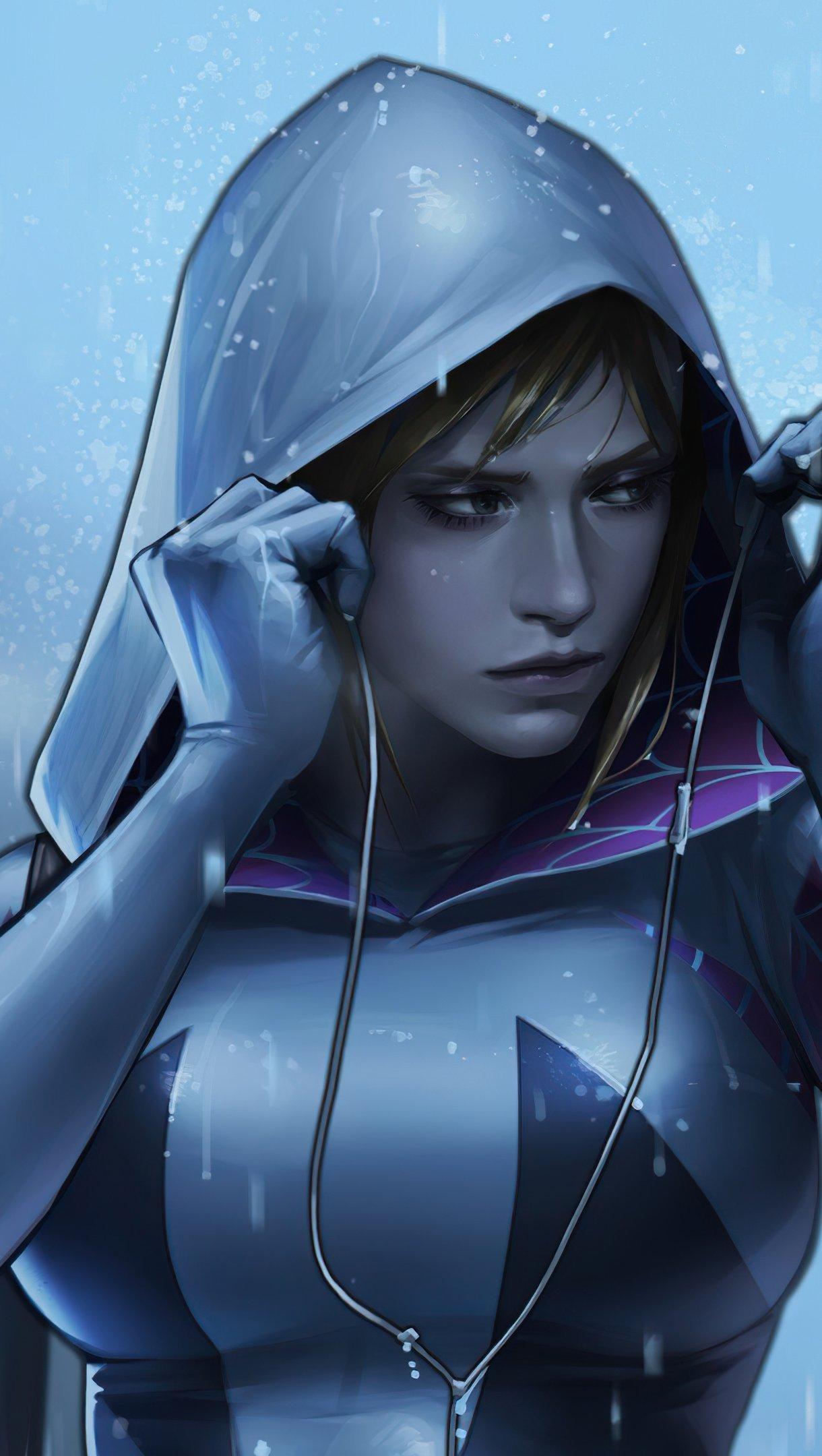 Fondos de pantalla Gwen Stacy escuchando musica Vertical