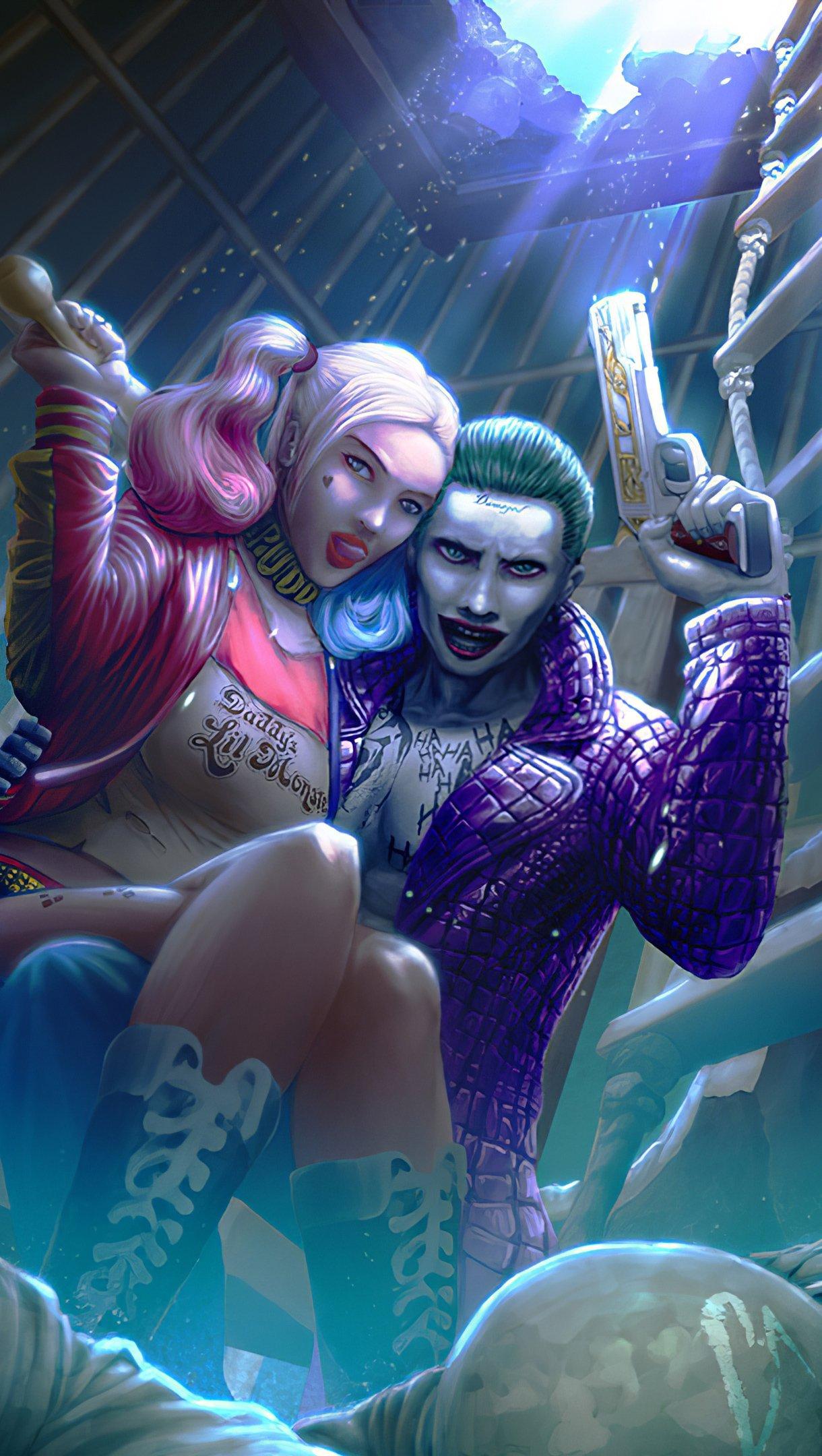 Wallpaper Harley Quinn and Joker Vertical