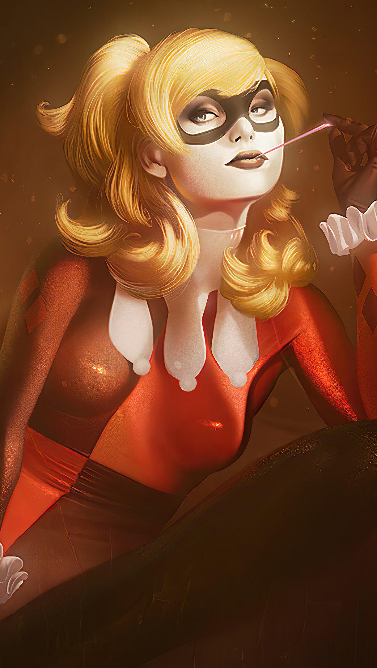 Fondos de pantalla Harley Quinn con traje rojo y negro Vertical