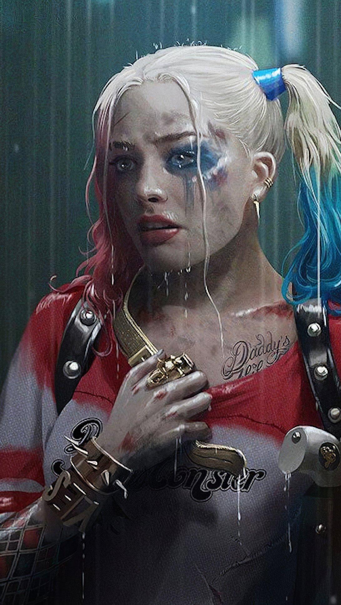 Wallpaper Harley Quinn in the rain Vertical