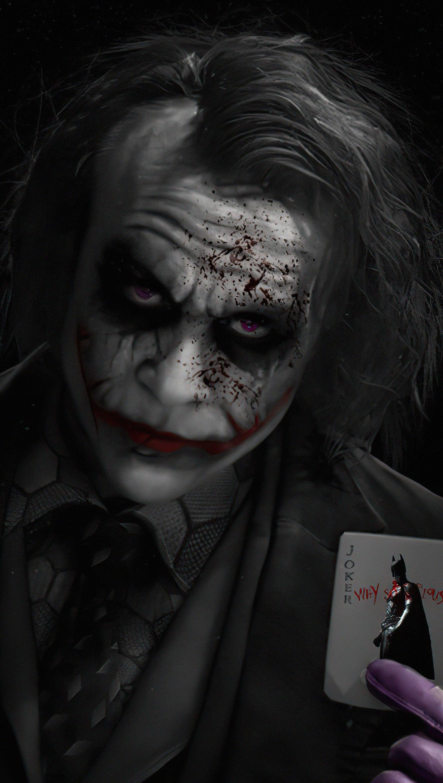 Wallpaper Heath Ledger as Joker with card Vertical