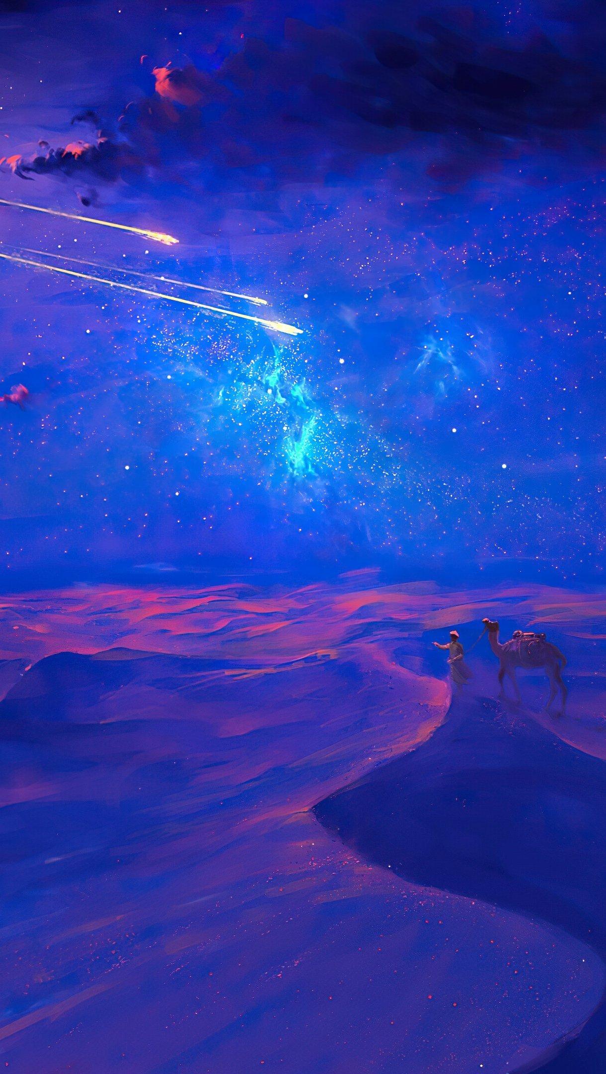 Fondos de pantalla Hermoso desierto en noche estrellada Ilustración Vertical