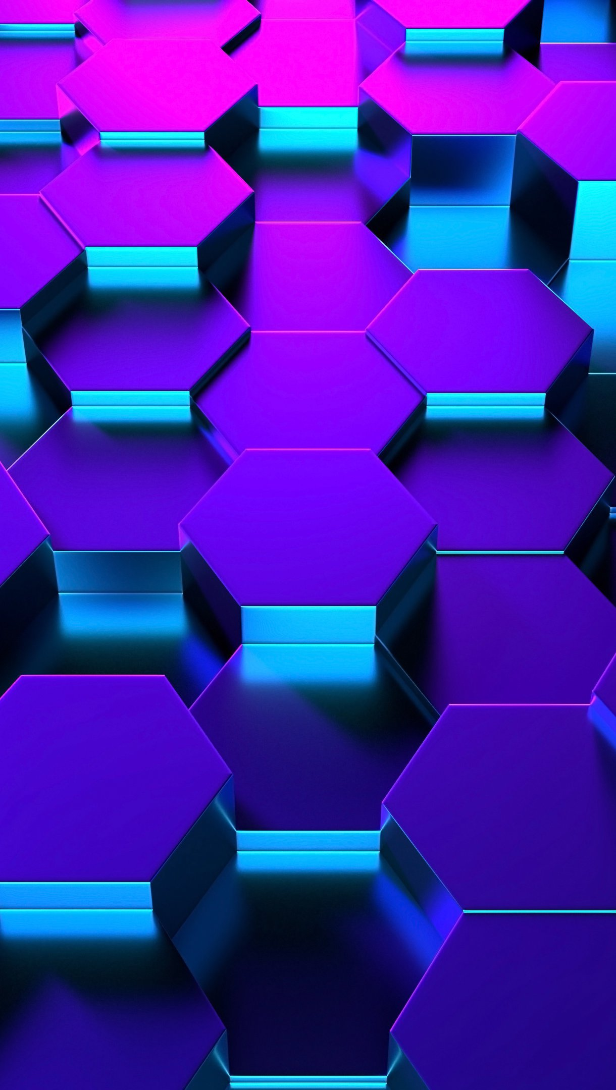 Fondos de pantalla Hexágonos 3D en perspectiva iluminación neón Vertical
