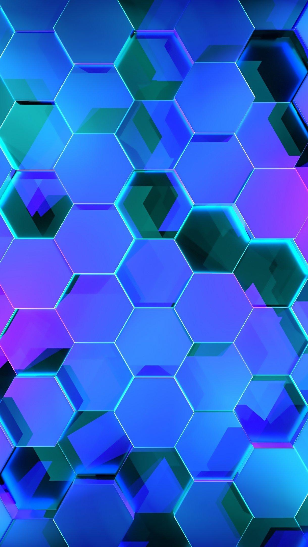 Fondos de pantalla Hexágonos 3D iluminación neón Vertical