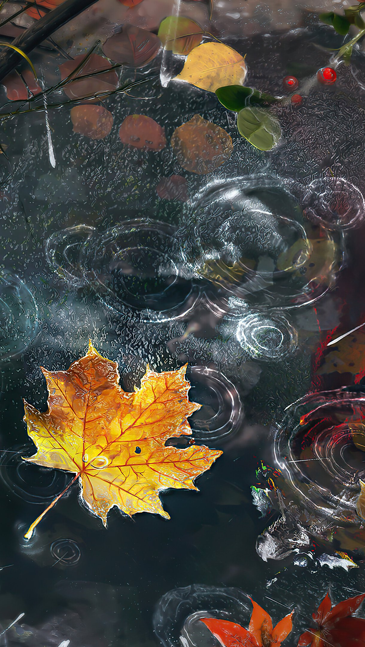 Wallpaper Autumn leaves with rain drops Vertical