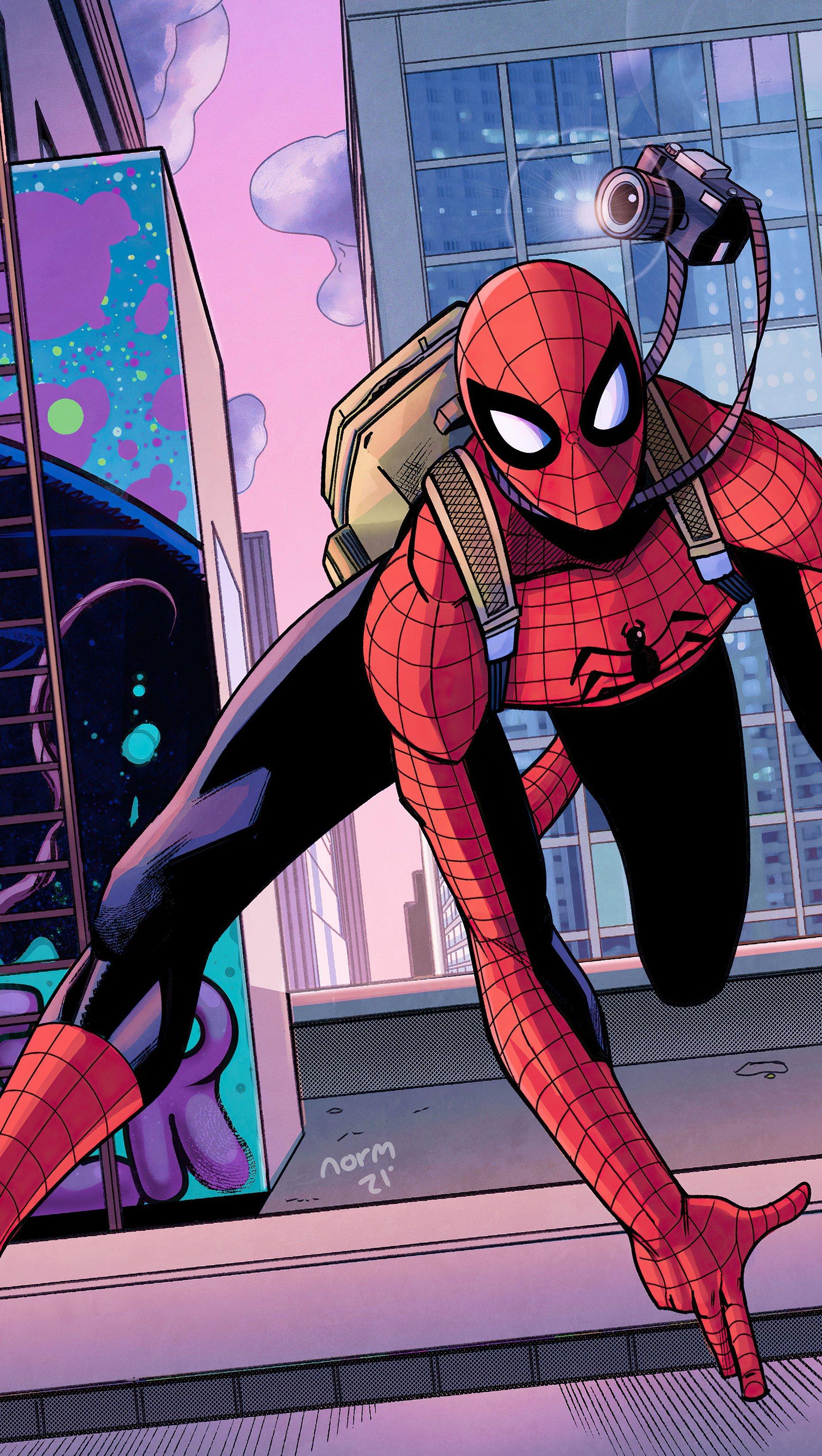 Wallpaper Spider Man taking pictures Vertical