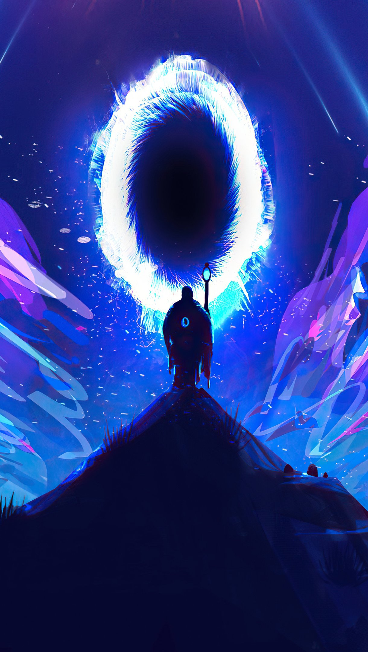 Fondos de pantalla Hombre caminando hacia un portal Ilustración Vertical