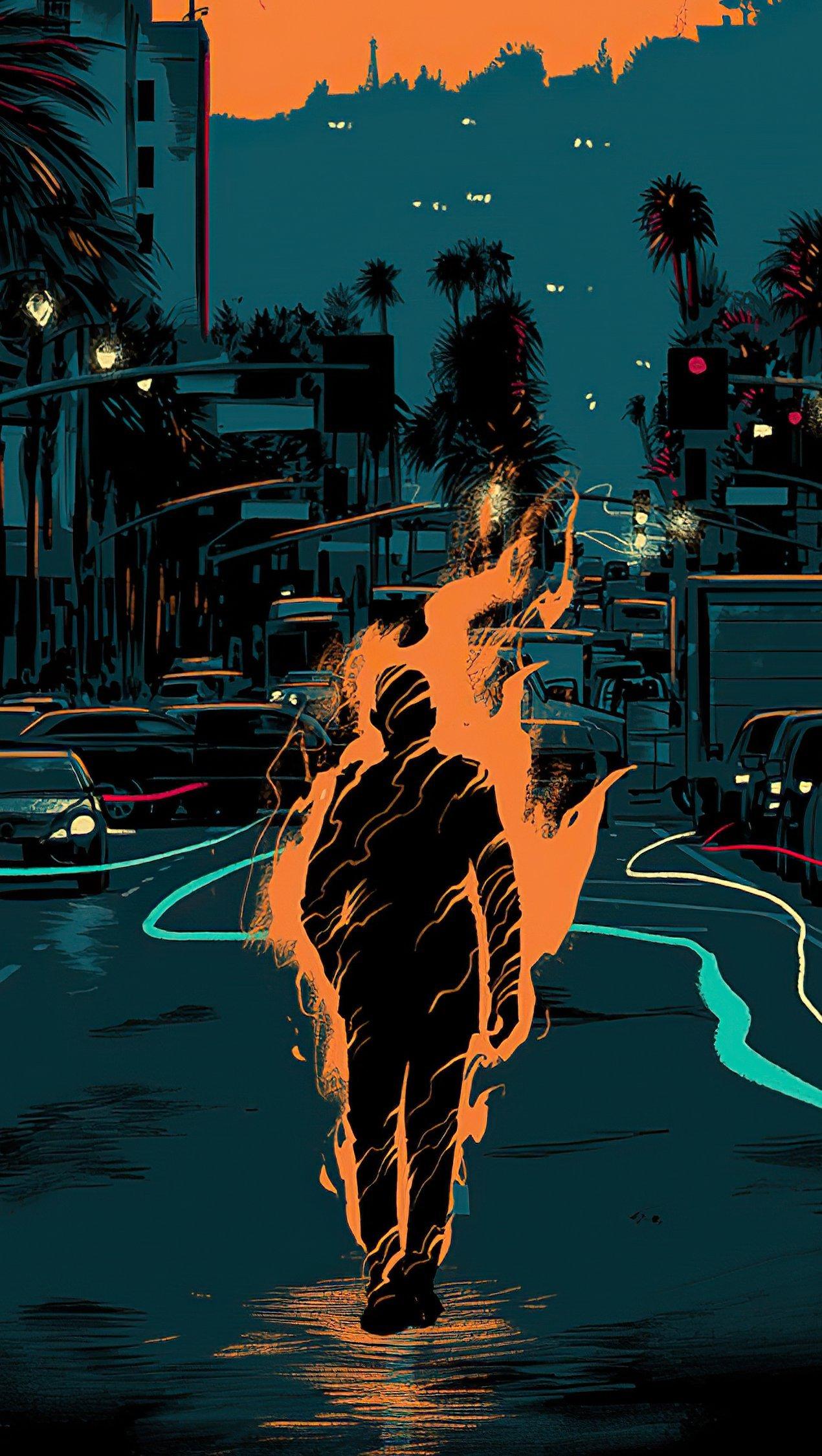 Fondos de pantalla Hombre en fuego Artwork Vertical