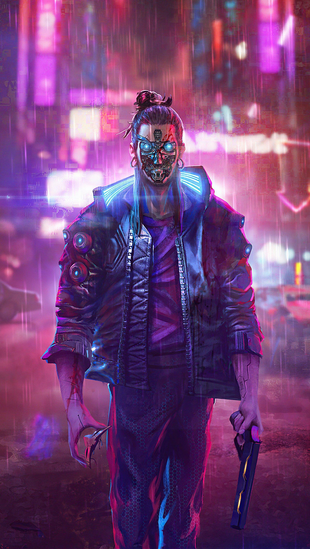 Wallpaper Man in the city Cyberpunk 2077 Vertical