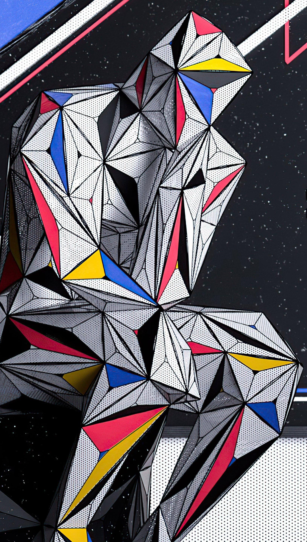 Wallpaper Man thinking as Piet Mondrian painting Vertical
