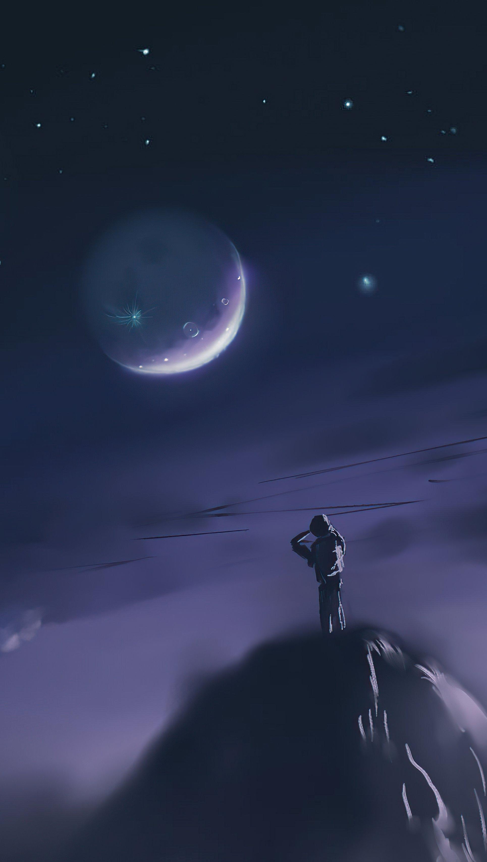 Fondos de pantalla Hombre sobre montaña mirando a la luna Arte Digital Vertical