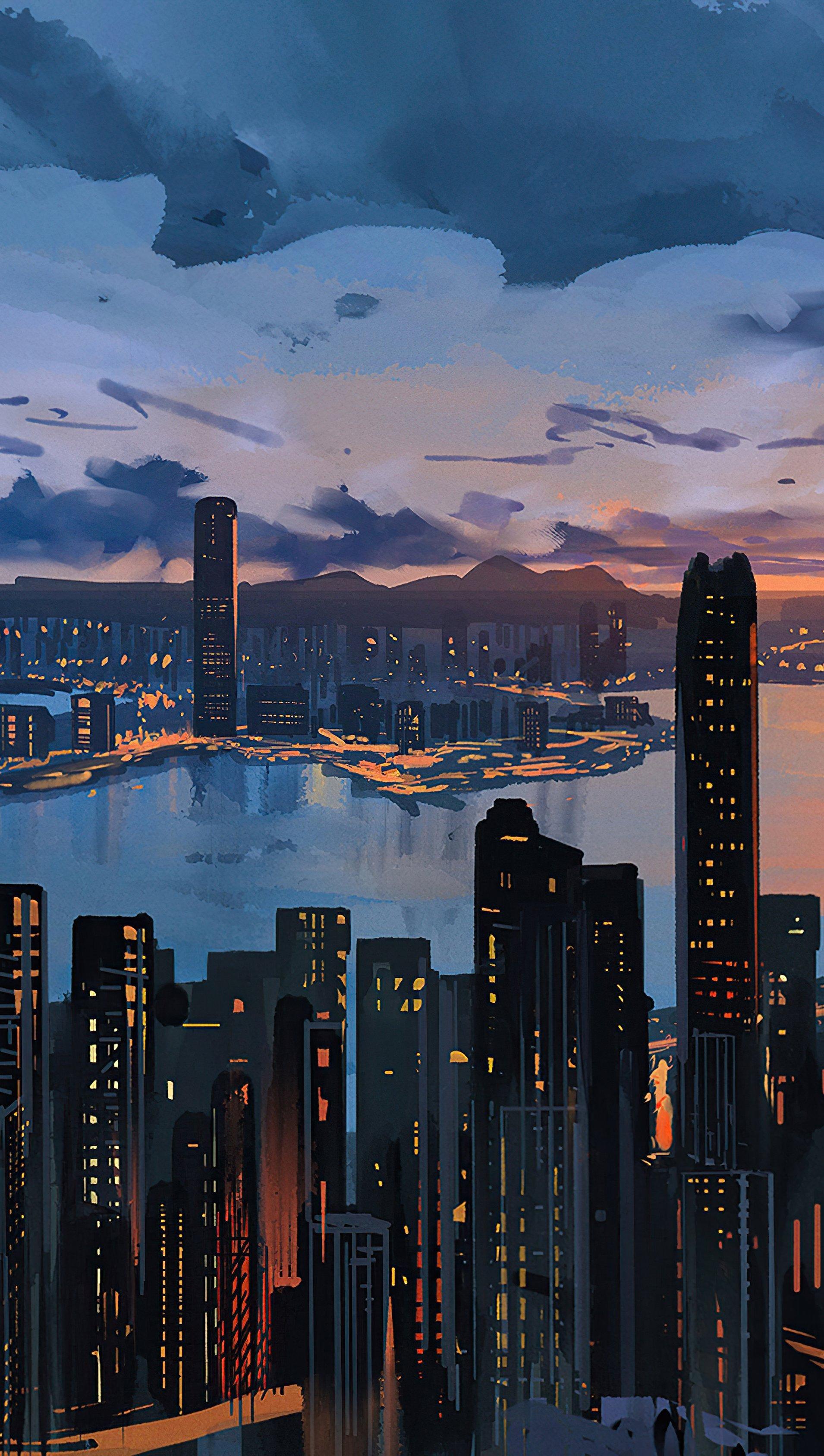 Fondos de pantalla Hong Kong Ciudad Arte Digital Vertical