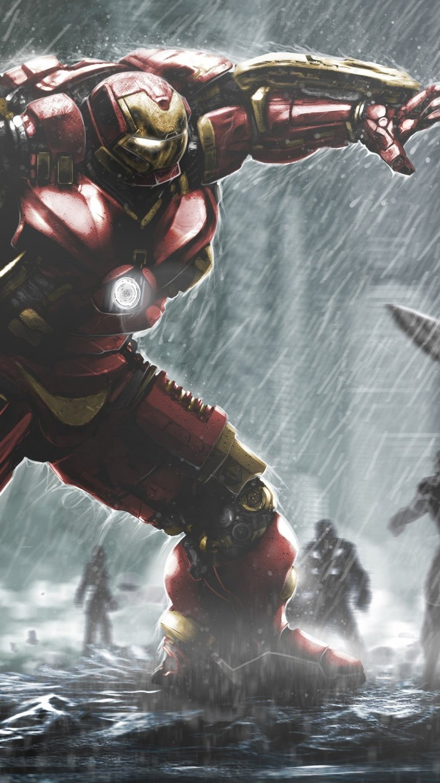 Wallpaper Hulkbuster against Hulk Vertical