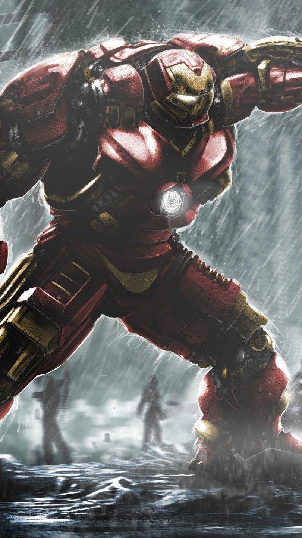 Wallpaper Hulkbuster Ironman vs. Hulk Vertical