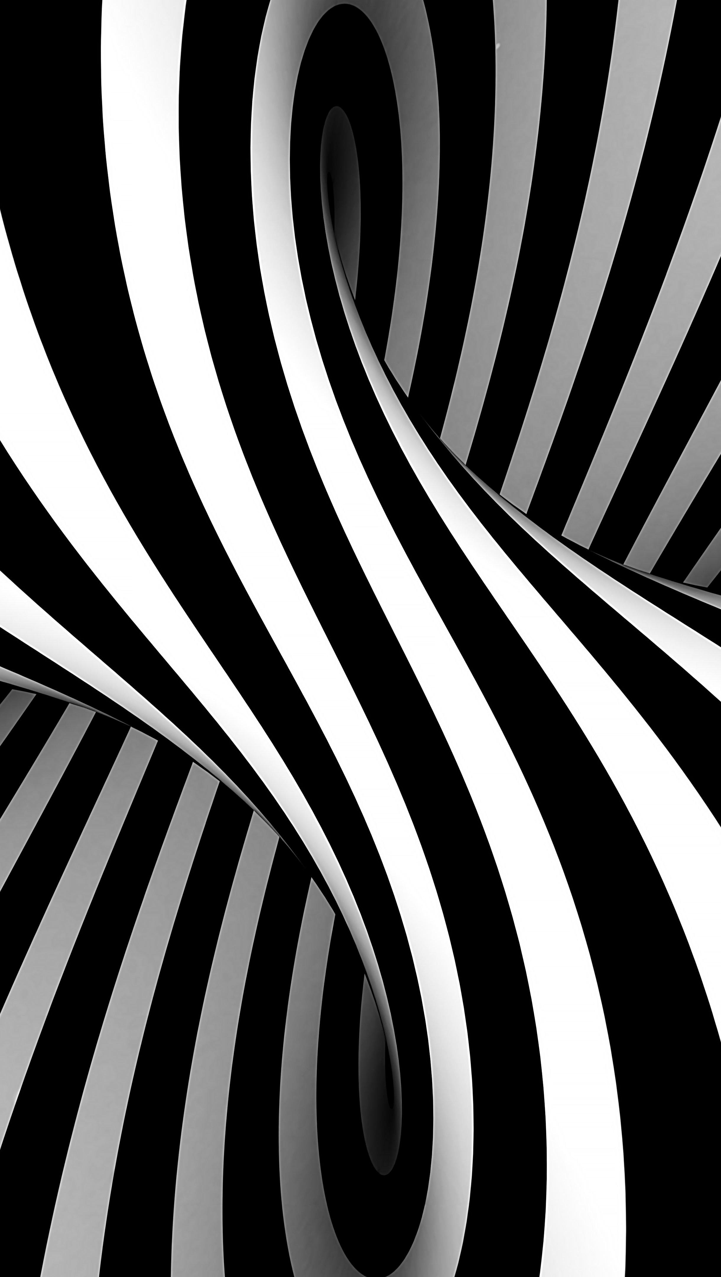 Fondos de pantalla Ilusión óptica 3D en blanco y negro estilo Vasarely Vertical