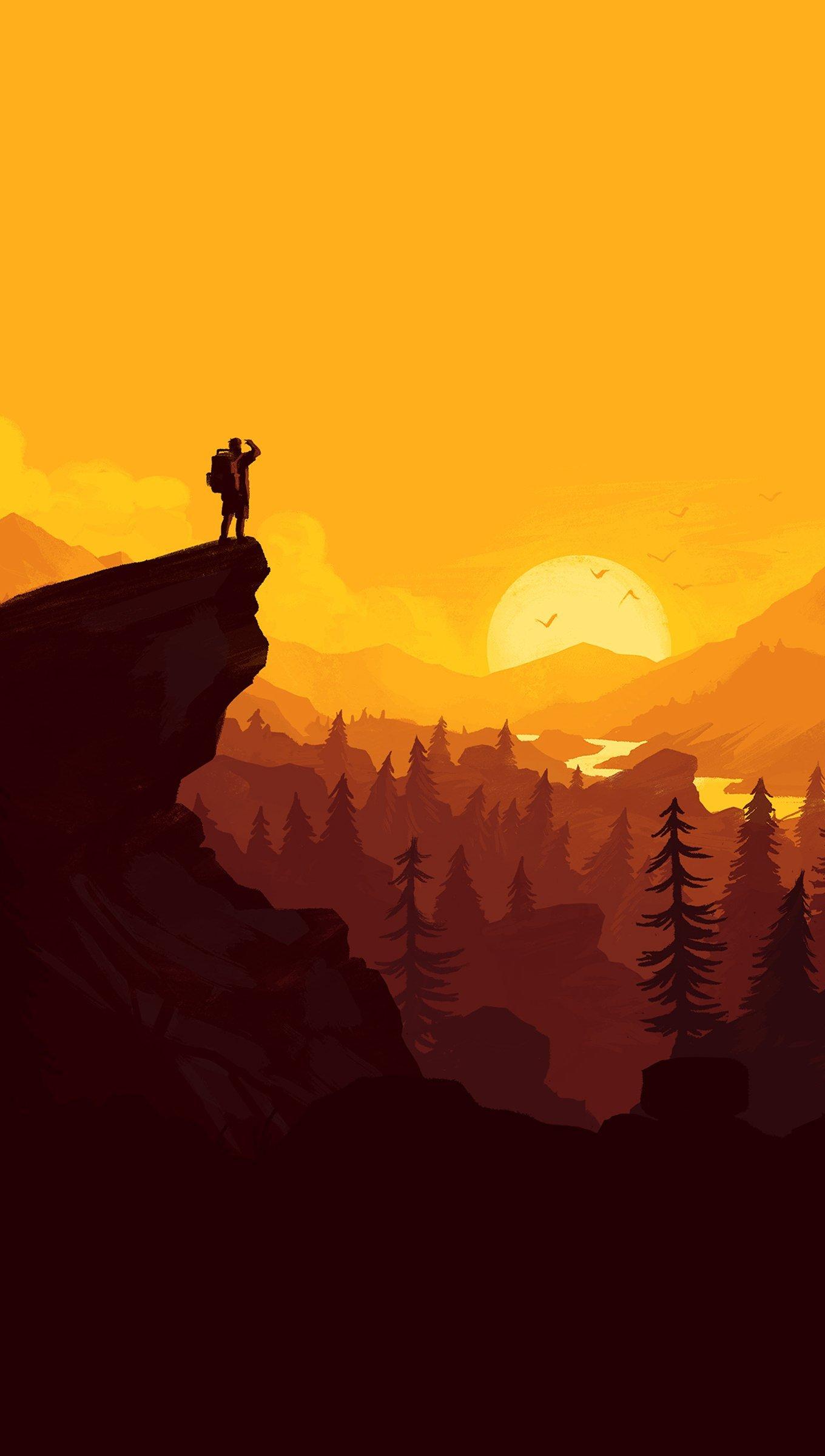 Fondos de pantalla Ilustración Atardecer en el bosque Vertical
