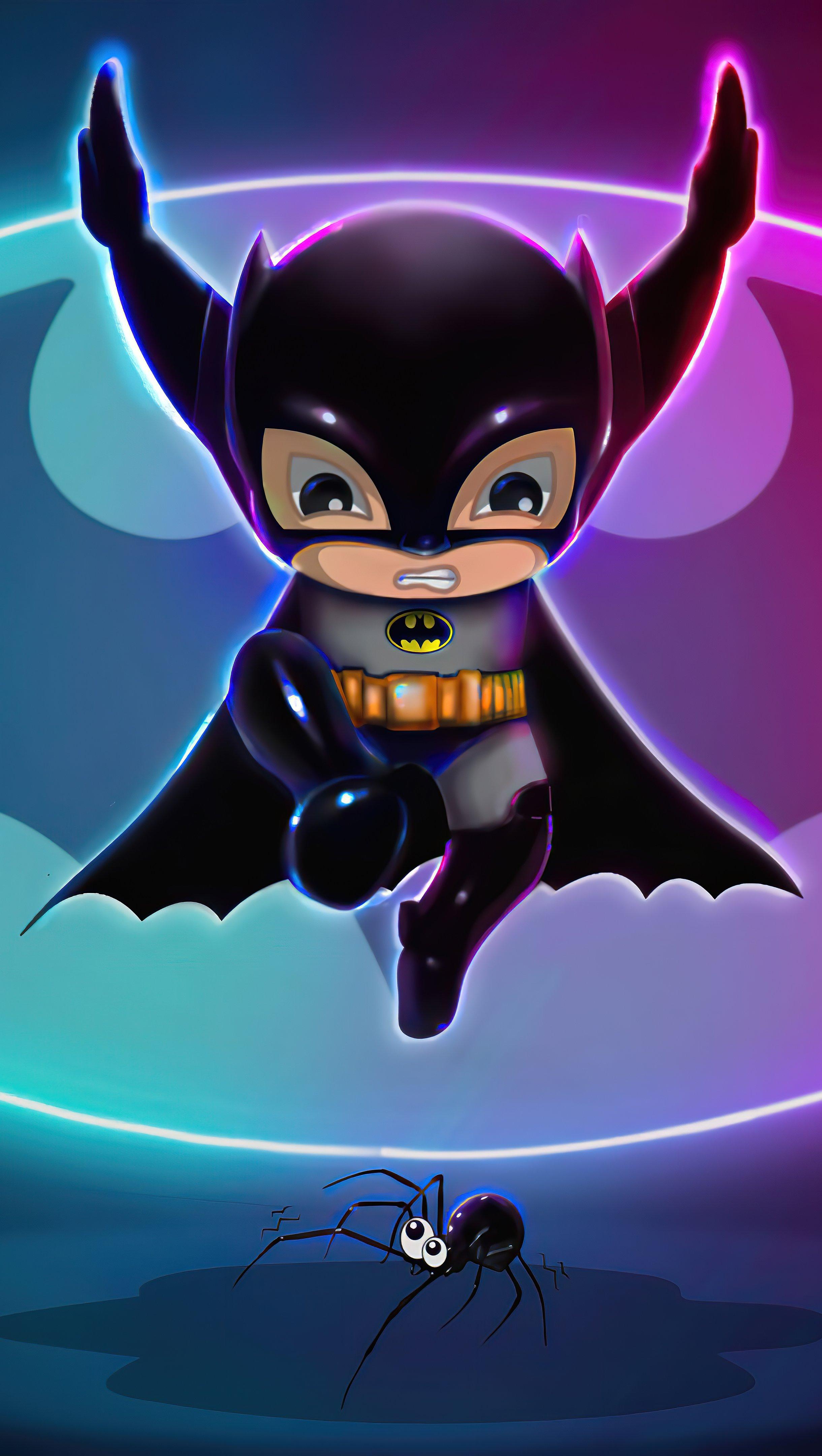 Wallpaper Batman illustration with neon lights Vertical