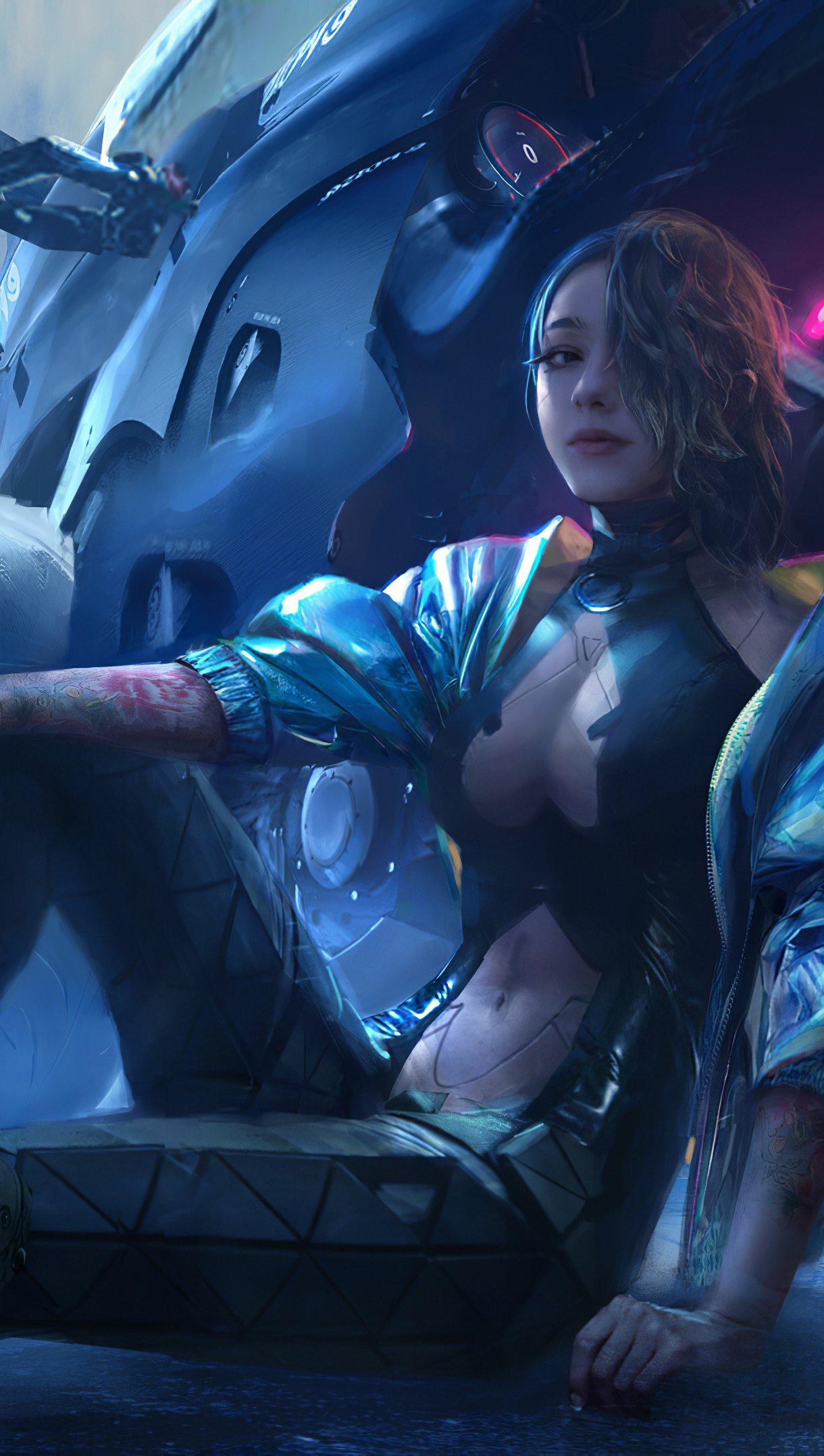 Fondos de pantalla Ilustración de chica con motocicleta Vertical