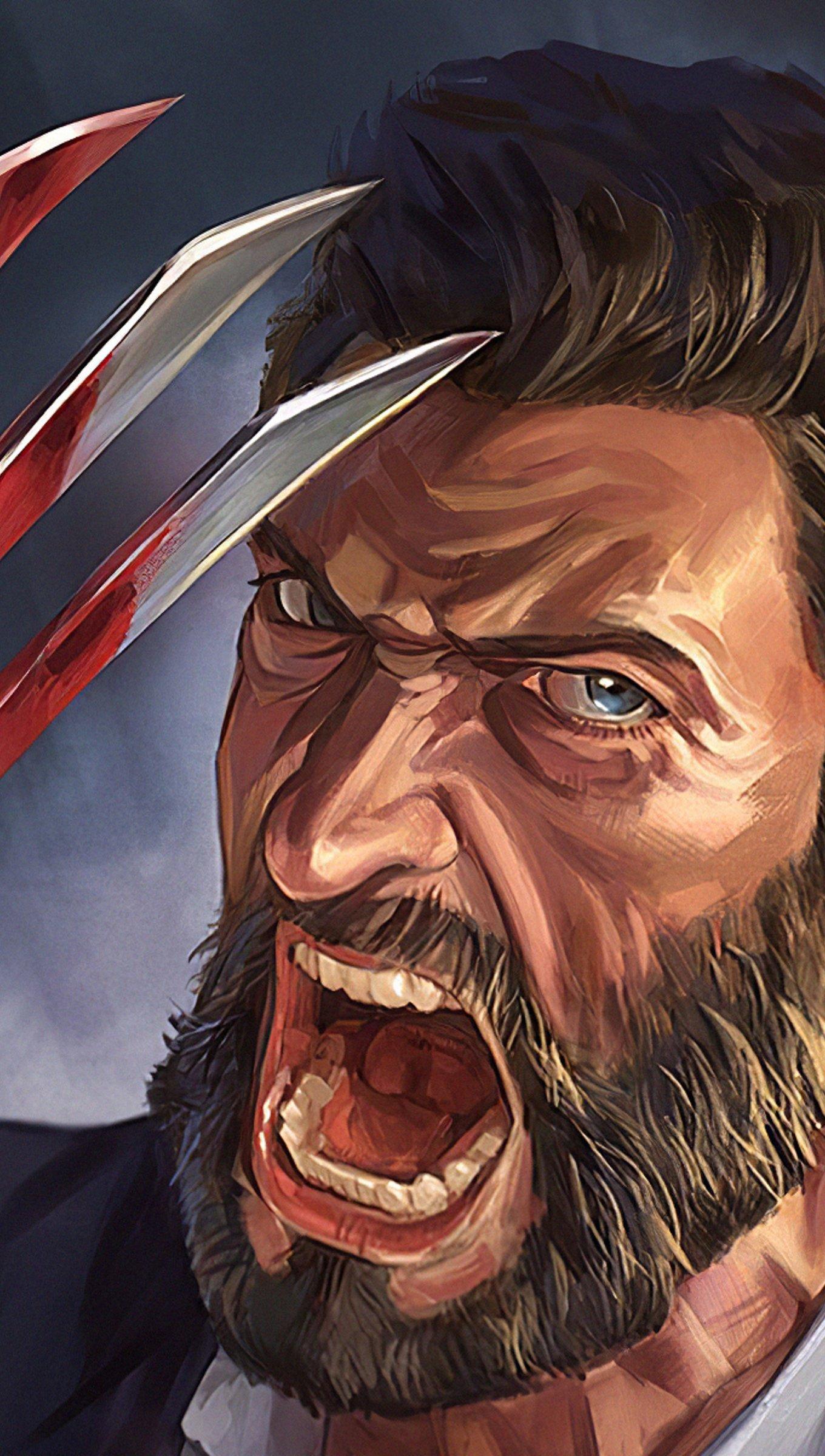Fondos de pantalla Ilustración de Hugh Jackman como Wolverine Vertical