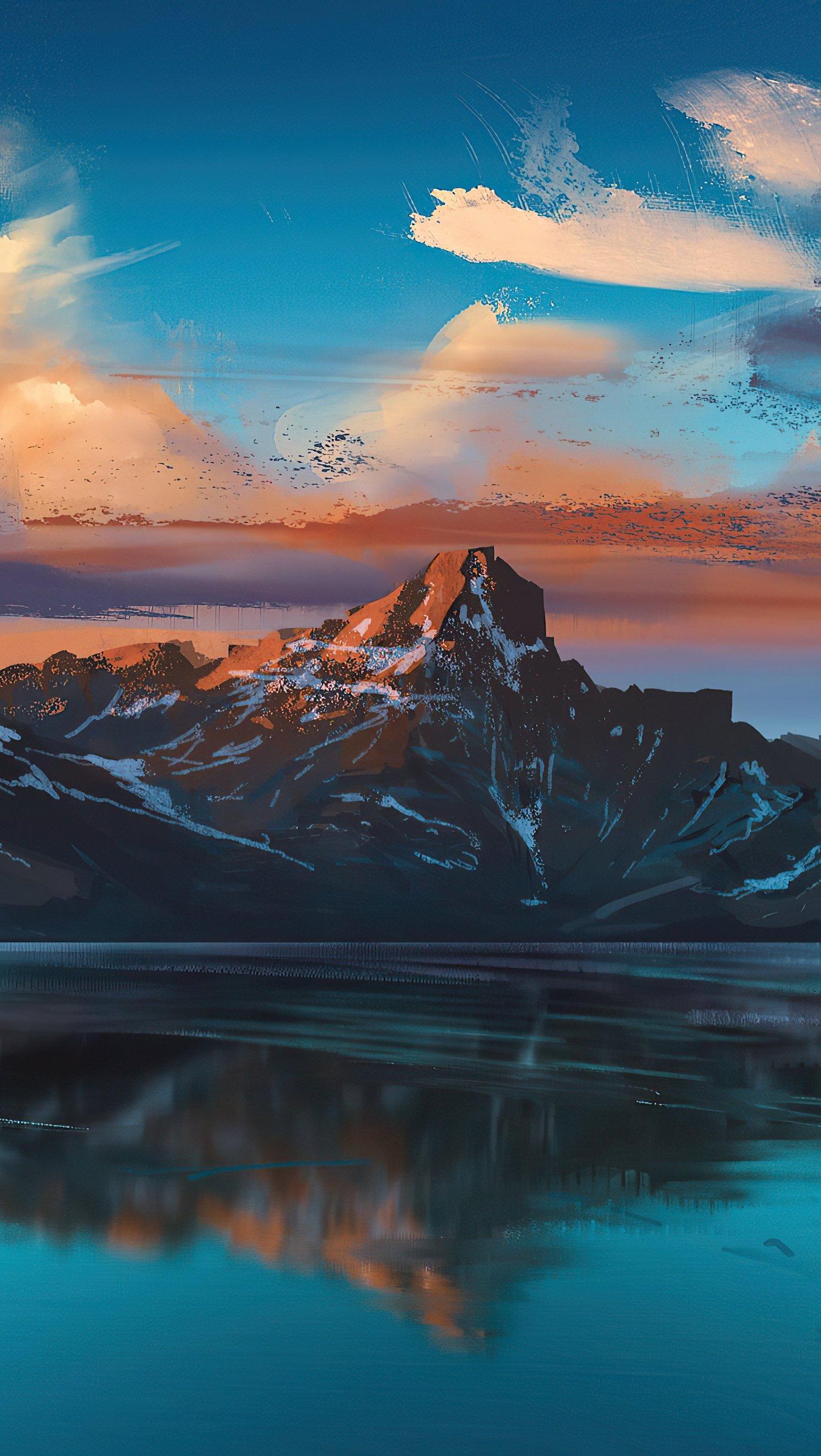 Fondos de pantalla Ilustración de Montaña en lago al amanecer Vertical