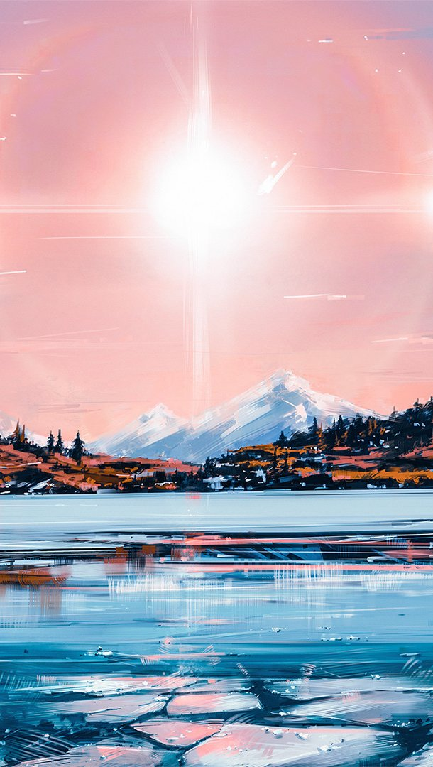 Fondos de pantalla Ilustración de paisaje en lago con hielo Vertical
