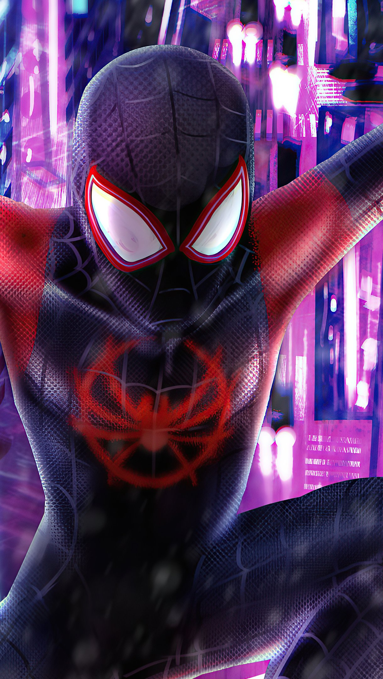 Wallpaper Spiderman in the city Ilustration Vertical