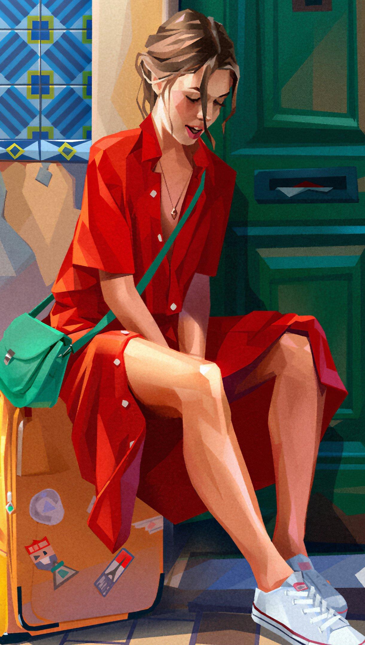 Fondos de pantalla Ilustración de una chica en vestido rojo Vertical