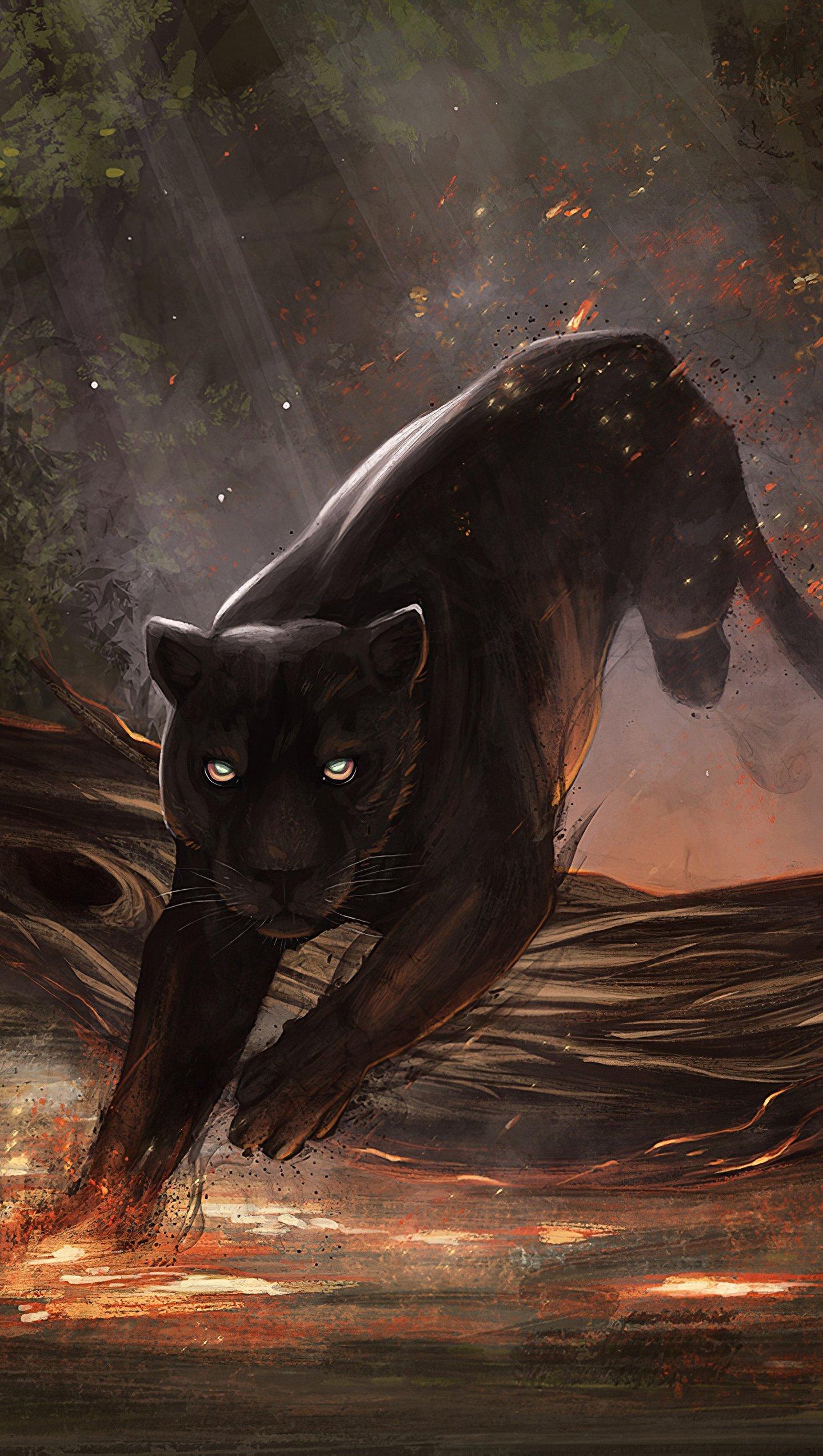 Wallpaper Black Jaguar Illustration Vertical