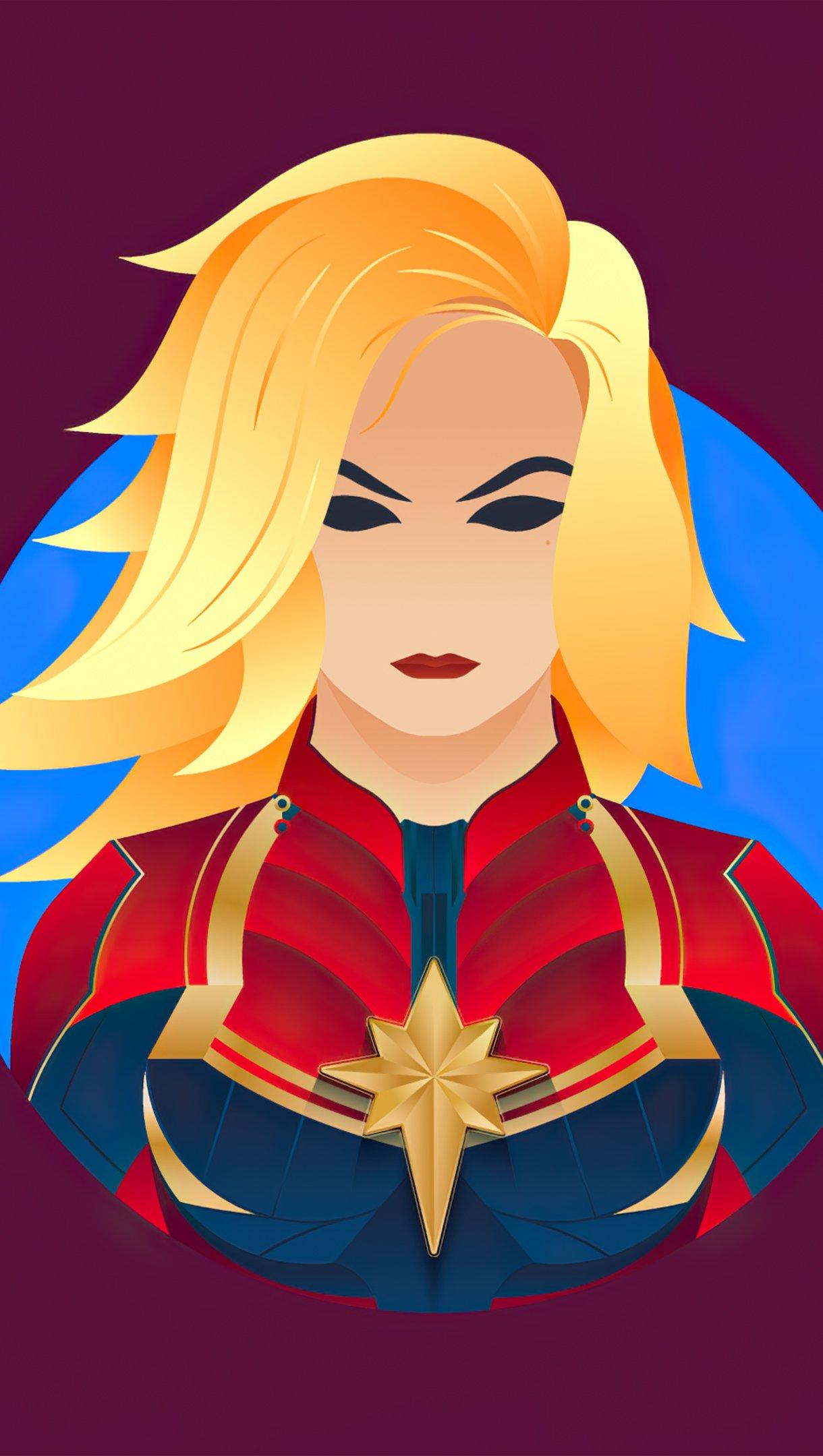 Fondos de pantalla Ilustración minimalista de Capitana Marvel Vertical