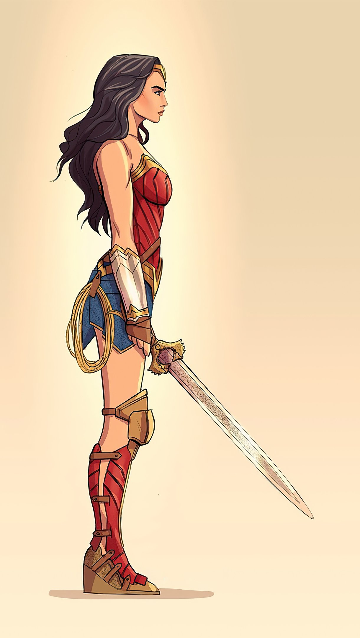 Wallpaper Minimalist Illustration of Wonder Woman Vertical