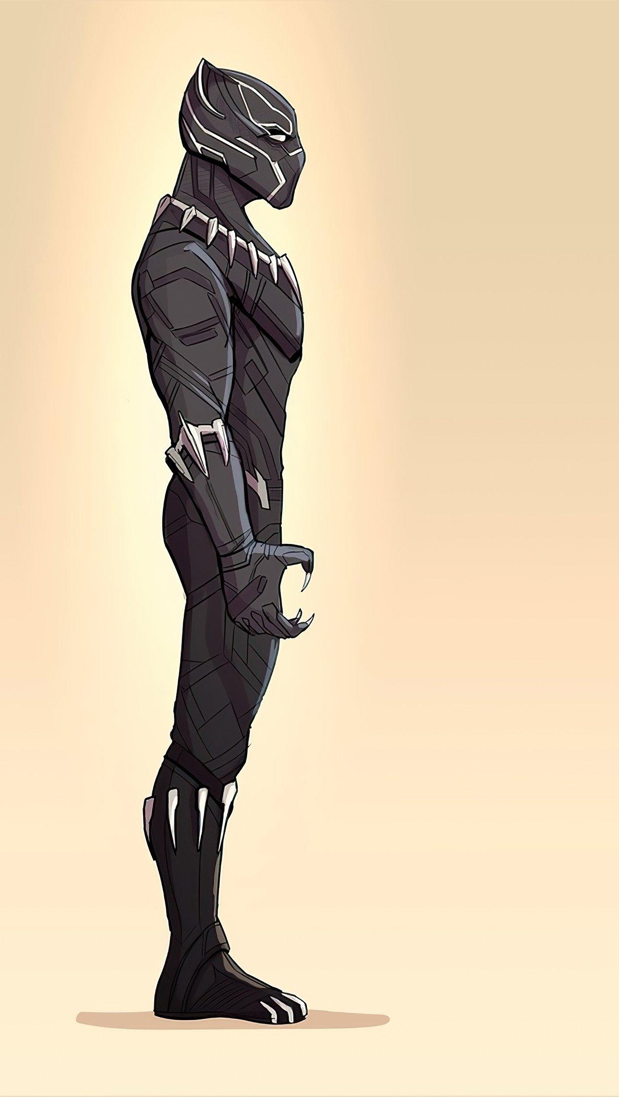 Wallpaper Minimalist Illustration of Black Panther Vertical