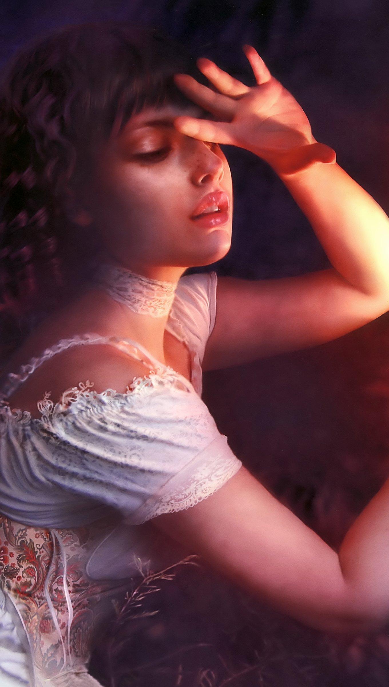 Wallpaper Woman with phoenix Illustration Vertical