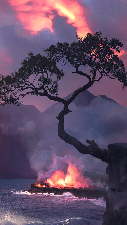 Fondos de pantalla Incendio en bosque junto al mar Vertical