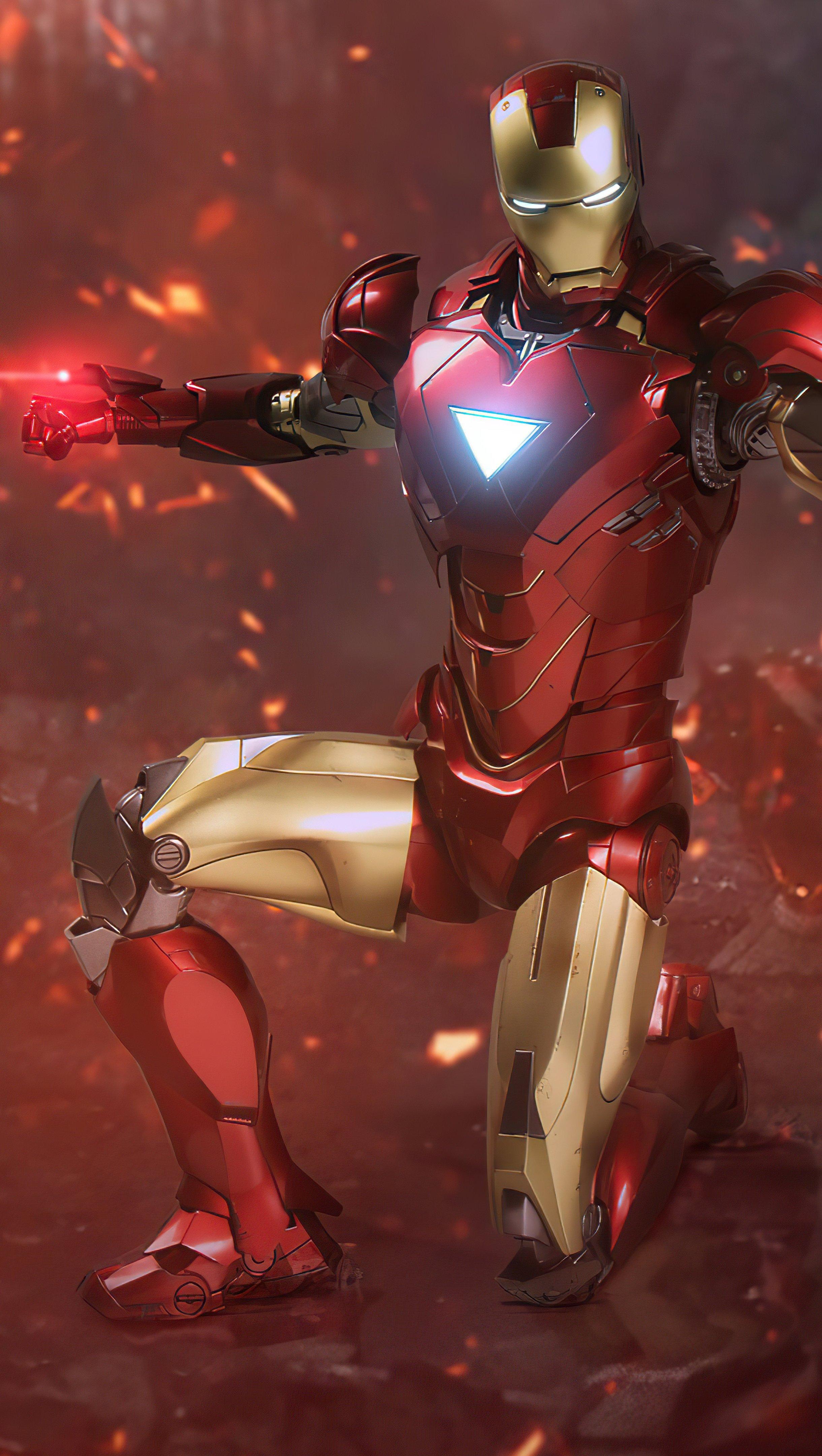 Wallpaper Iron Man attacking Vertical